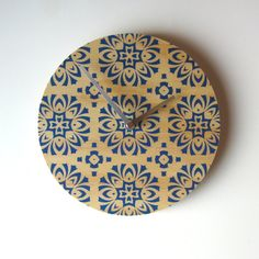 Hey, I found this really awesome Etsy listing at https://www.etsy.com/listing/101584161/objectify-blue-tile-wall-clock