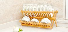 Bamboo dish rack kitchen utensils shelf storage drain rack