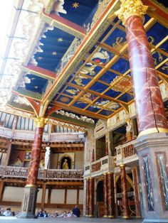 The Globe Theatre, London. It's all made out of wood, even what looks like marble.