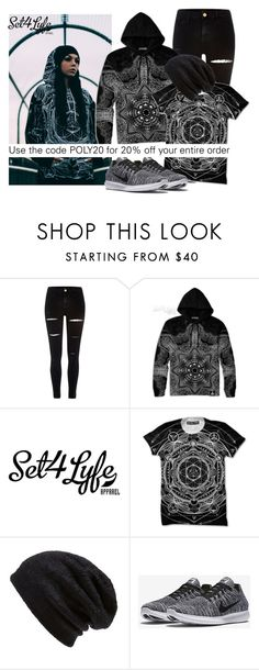 """""""SHOP - Set 4 Lyfe Apparel"""" by ladymargaret ❤ liked on Polyvore featuring River Island, Barefoot Dreams and NIKE"""