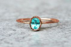 Oval apatite ring Rose gold jewellery Unique Engagement by ARPELC