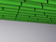 Felt and acoustic material ceiling baffles  brooklynhq.com Space Dividers, Acoustic, Felt, Screens, Brooklyn, Pattern, Ceiling, Canvases, Felting
