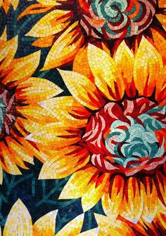 Sunflower mosaic   #design #mosaic