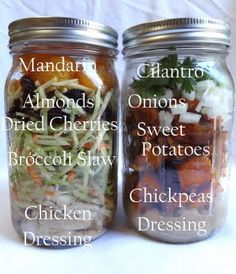 Mason-jar meals: Layer food in jars and keep for days. Each jar is either a meal, side, or snack. Spend a few hours prepping (including cooking) food for up to a week of meals. Mason Jar Lunch, Mason Jars, Mason Jar Meals, Meals In A Jar, Clean Eating, Healthy Eating, Healthy Lunches, Healthy Food, Yummy Food