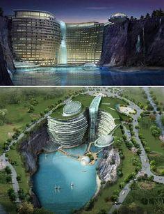 Atkin's Architecture Group bu göz alıcı tasarımıyla uluslararası tasarım yarışmasında birinciliği alıyor. Çin'in Songjiang bölgesindeki su ile dolu bu taş ocağının üzerine doğal yollarla inşaa edilen 400 yatak odalı resort otel, eşssiz bir görünüme sahip.