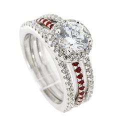 Thin Red Line Engagement 3 Ring Set Sterling 65MM Silver CZ with