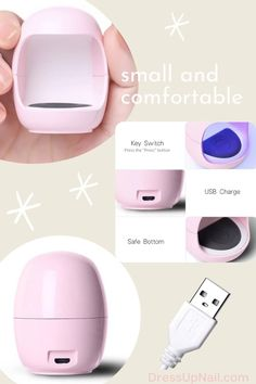 Сompact mini LED lamp for one finger, designed for polymerization of gels and gel polishes. Suitable for personal use. Convenient to take with you when traveling. Glitter Manicure, Nude Nails, Stiletto Nails, Easy Art, Simple Art, Cat Eye Nails, First Finger, Art Nails, Led Lamp
