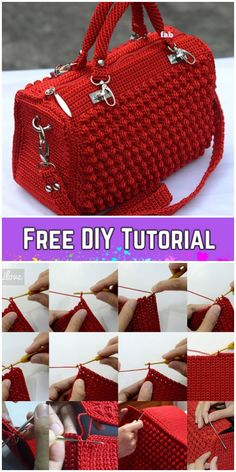 Bobble Stitch Handbag Crochet Pattern with Video Tutorial # Instructions . - - Bobble Stitch Handbag Crochet Pattern with Video Tutorial # stitch Crochet Bag Tutorials, Crochet Purse Patterns, Crochet Motifs, Handbag Patterns, Tutorial Crochet, Poncho Patterns, Knitting Patterns, Crochet Handbags, Crochet Purses