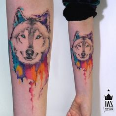 A husky dripping in water paint colors - Pet Inspired Tattoos That Every Animal Lover Will Appreciate.