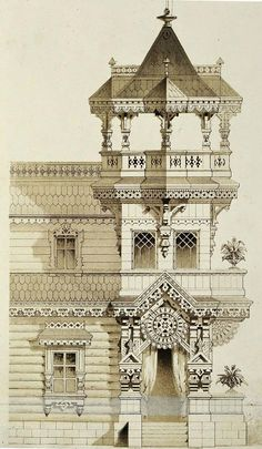Дом в неорусском стиле / Neo-russian style of the pre-revolutionary period, 19th cent.