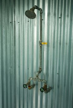 Exposed plumbing Industrial style shower for the teenage boys