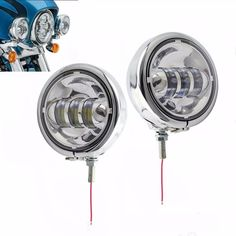 4.5inch Chrome CRE LED Auxiliary Spot Fog Passing Light Lamp with Housing Ring Monnt Bracket for Harley Touring Electra Glide