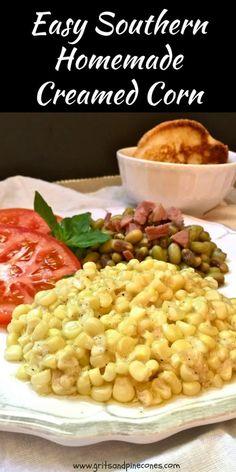 Easy Homemade Creamed Corn | gritsandpinecones.com