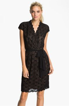 Scalloped Lace Surplice Dress