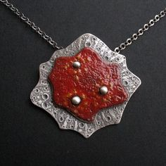 Red Planet - silver pendant with enamel  #fiann #handmadejewelry #enamel #unique #polandhandmade #jewelry #silverjewelry #ooak #jewelryforsale