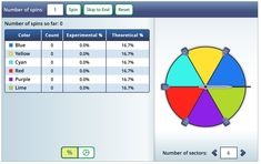 Use this tool to create a spinner to examine experimental and theoretical outcomes. Probability Games, Fun Math Games, Learning Games, Activity Games, Online Games For Kids, Teaching Tips, Middle School, High School, Create