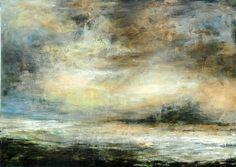 Sea Mist. Bamburgh, Northumberland Coast, England. Oil on board 1.2 x 1.5m by Sue Lawson
