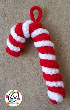 Candy Cane Ornament free crochet pattern - Free Ornament Crochet Patterns - The Lavender Chair