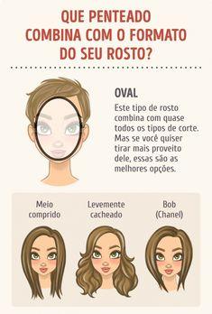 Escolha o penteado de acordo com o formato do seu rosto Maquiagem, Cabelo  Longo, a9cfb461d8