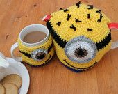 Handmade Crochet Teapot & Cup Mug Cozy Cover Warmer Set Despicable Me Minion Carl Yellow SAVE 20%