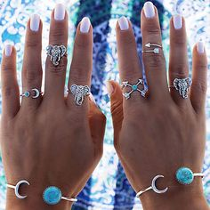 Silver plus turquoise color combo! Set of 6 rings all for you or share it with friends! Add to your collection in only USD 2.99 with FREE DELIVERY