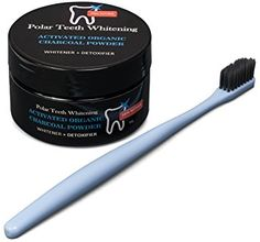 Polar Teeth Whitening Charcoal Powder with Free Charcoal Toothbrush - Organic Activated Coconut Charcoal - Whitens Teeth, Freshens Breath, Detoxes Naturally- Gluten Free, Vegan, Kosher Charcoal Teeth Whitening, Natural Teeth Whitening, Activated Charcoal, Detox, Powder, Coconut, Organic, Vegan, Free