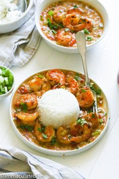 Shrimp Etouffee — Juicy shrimp dish smothered in rich and flavorful roux sauce made with rich authentic southern flavors and an incredibly delicious taste. Easy recipe with big bold flavors! I totally appreciate easy, quick and tasty meals. Creole Recipes, Cajun Recipes, Fish Recipes, Seafood Recipes, Dinner Recipes, Cooking Recipes, Healthy Recipes, Recipes With Shrimp, Potluck Recipes