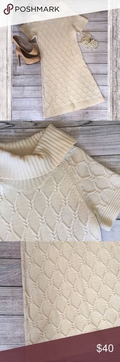"""Banana Republic Sweater Dress Beautiful cream colored sweater dress. 100% merino extra fine wool. Bust 14"""" across. 36""""L shoulder to hem. There is a small hole in the front of the dress (see last picture) but if worn with a belt, it is perfectly covered. Otherwise great condition. Banana Republic Dresses"""