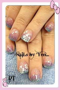 Iridescent pink, lilac, and turquoise glittered gradient nail design with Hawaiian flowers #acrylic #ombre #nails by yen ... Thank you Deena :)