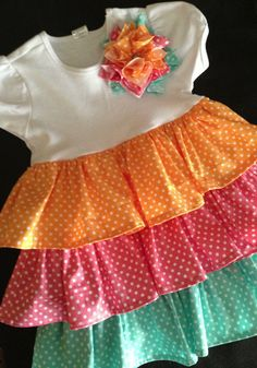 Girls PolkaDot Spring Ruffled Tshirt Dress size 4T by HaleyLaine