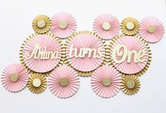 Princess Party Decorations - Pink and Gold First Birthday Decorations - Blush Paper Fans - Blush and Gold Party - First Birthday Decoration Pink And Gold Birthday Party, Gold First Birthday, Diy Birthday, First Birthday Parties, First Birthdays, Cake Birthday, Birthday Images, Birthday Ideas, Simple Birthday Decorations