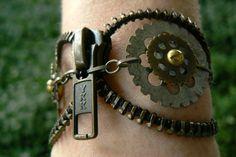 Antique Brass Zipper Bracelet.