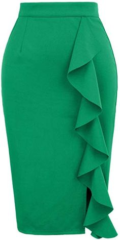 Women's Classic High Waist Slit Ruched Solid Pencil Skirt S Green Pencil Skirt Outfits, Dress Outfits, Fashion Outfits, Pencil Skirts, Short African Dresses, Latest African Fashion Dresses, Classy Work Outfits, Classy Dress, Grace Karin