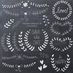 laurel and wreath chalkboard clipart for scrapbooking, wedding invitation, personal and commercial use,