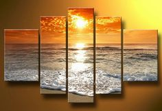 Free shipping, handmade 5 piece/set seascape landscape sunrise oil painting on canvas wall art   for living room $49.90