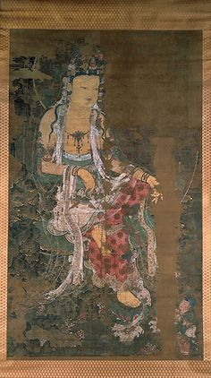 Avalokiteshvara 1310 hanging scroll, ink and colors on silk H: 203 in. x W: 119 3/4 in. Kagami Jinjya Temple