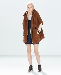 HOODED PONCHO CAPE from Zara