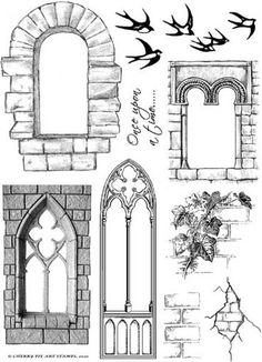 Castle window and wall examples Window Clipart, Castle Window, Castle Doors, Images Vintage, Putz Houses, Marianne Design, Gothic Architecture, Digital Stamps, Zentangles