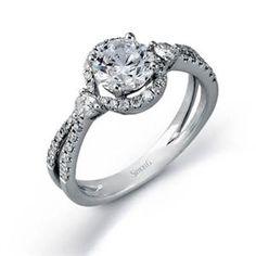 Shop online SIMON G TR462 Halo 18K - White Gold Diamond Engagement Ring at Arthur's Jewelers. Free Shipping