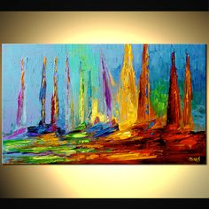 Original abstract art paintings by Osnat - colorful sail boats on sea