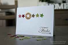 Ein tolles Stempelset, ein -zwei Stempelfarben. Weißes und weihnachtliches Papier und…wie soll es anders sein, eine Kreisstanze und das Stanzenset zu Weihnachten