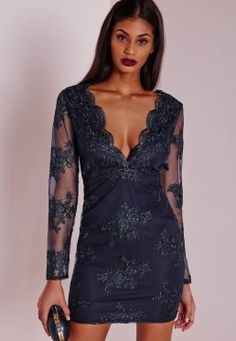 pretty!! Premium Plunge Embroidered Lace Bodycon Dress Navy