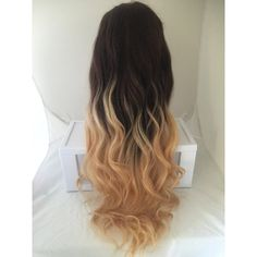 Brown Blonde Ombre Full Stretch Lace Glueless Remy Human Hair 34 Long... ($980) ❤ liked on Polyvore featuring beauty products, haircare, hair styling tools, hair, beauty, bath & beauty, grey, hair care, styling iron and flat curling iron