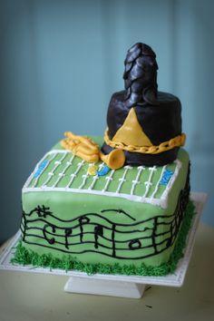marching band, trumpet, music cake.  MMF and chocolate fondant.