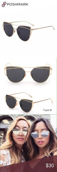 Sunglasses Latest trend in sunglasses. These retail over $50 online. Lens Material: Resin Frame Material: Metal, Lens Width: 5.6cm/2.2 inch, Lens Height: 5cm/2 inch, Frame (L x W): 14 x 15cm/5.5 x 5.9 inch, Protection: UV400 Accessories Sunglasses