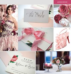 Pretty in pink. Wedding gown by Stella Libero, silver place card with silver ink calligraphy, handcrafted sugar rose and peonies by Tartufi Cakes, English rose invite with pink bow and RSVP reply card by Lily Anna Rose. Glass vase with plum candle and rose table display with silver urn by Arcade Flowers.