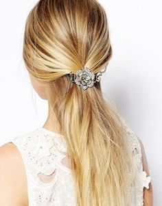 Sweet pullback hair with silver flower clasp