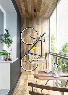 Home OfficeBalcony design is unconditionally important for the look of the house. There are fittingly many lovely ideas for balcony design. Here are pictures of the best balcony design. Vertical Bike Storage, Bicycle Storage, Bike Storage Balcony, Small Apartments, Small Spaces, Garage Apartments, Small Rooms, Bike Storage Apartment, Cozy Apartment