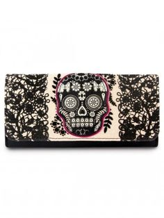 Lace Skull Wallet by Loungefly (Fuschia)