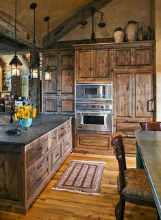 35 Best Rustic Farmhouse Kitchen Cabinets Ideas – Decorating Ideas - Home Decor Ideas and Tips - Page 6 Rustic Kitchen Design, Farmhouse Kitchen Cabinets, Kitchen Designs, Rustic Cabinets, Dark Cabinets, Cupboards, Rustic House Design, Rustic Kitchen Lighting, Kitchen Cupboard